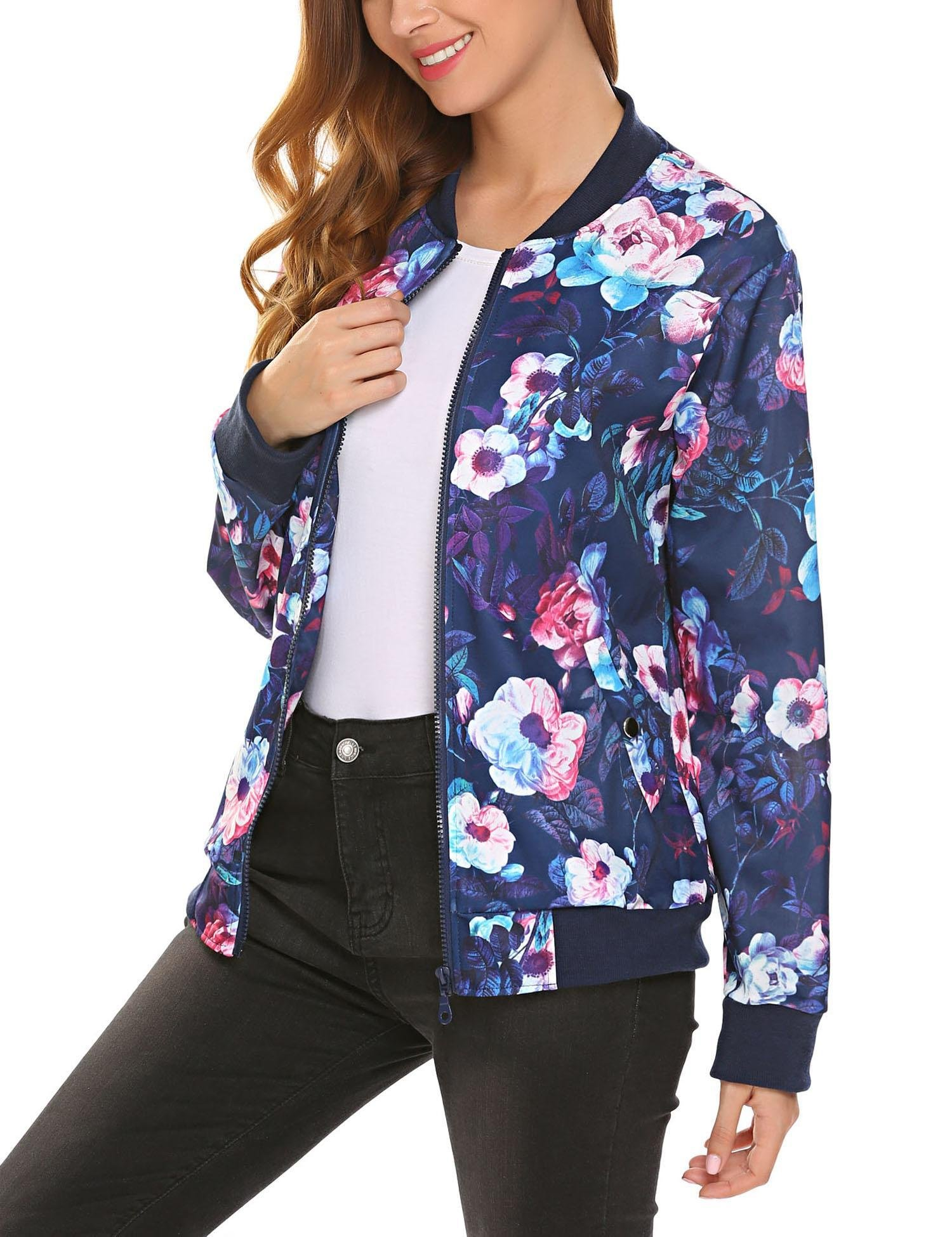 Soteer Womens Lightweight Classic Zip Up Floral Bomber Jacket Blue L
