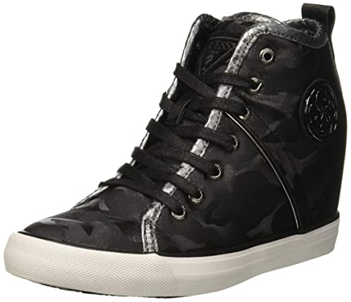 Guess Jilly, Sneaker a Collo Alto Donna, Nero Black, 35 EU