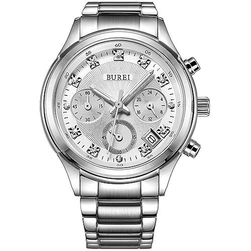 BUREI Damen Elegante Analoge Quarz Armbanduhr Chronograph Multi-funktion mit Weißem Zifferblatt Datumsanzeige und Edelstahl Armband