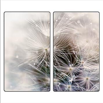 Herdabdeckplatten 2x30x52 cm Ceranfeldabdeckung 2-Teilig Universal Elektroherd Induktion f/ür Kochplatten Herdschutz Deko Schneidebrett Sicherheitsglas Spritzschutz Glas Blume decorwelt