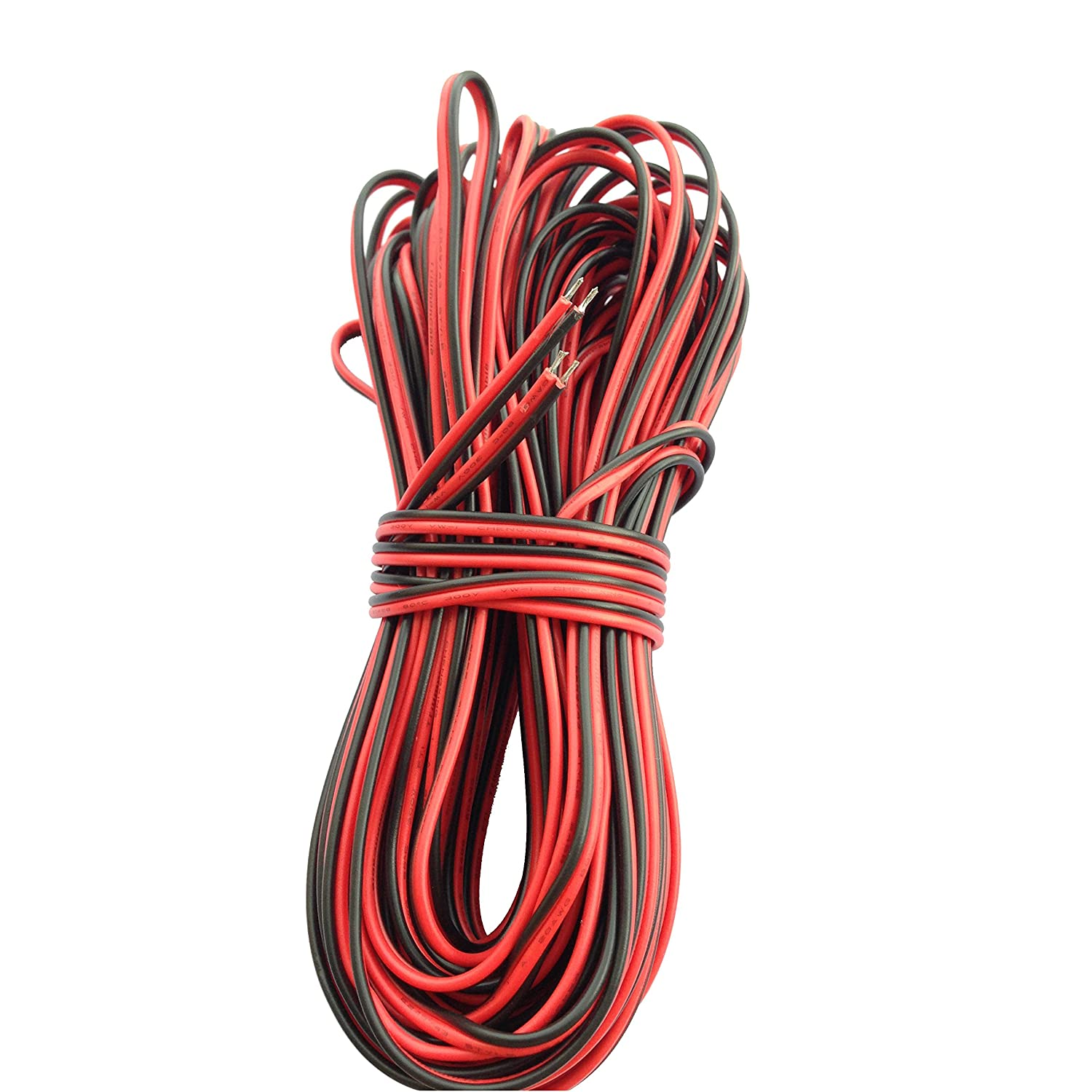 Ksmile 20M 20AWG 66ft Extension Cable Wire Cord for Led Strips Single Colour 3528 5050, 2 Pin Red/Black Hookup Wire 12V DC 66feet