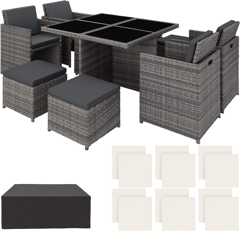 TecTake Conjunto Muebles de jardín en Aluminio y ratán sintético Comedor Juego 4+4+1 + Funda Completa + Set de Fundas Intercambiables | Tornillos de Acero Inoxidable (Gris | No. 403082)