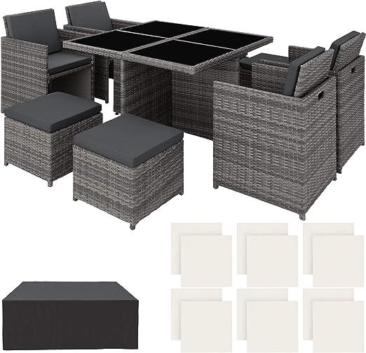 TecTake Conjunto Muebles de jardín en Aluminio y ratán sintético Comedor Juego 4+4+1 + Funda Completa + Set de Fundas Intercambiables | Tornillos de Acero Inoxidable (Gris | No. 403082): Amazon.es: Productos para mascotas