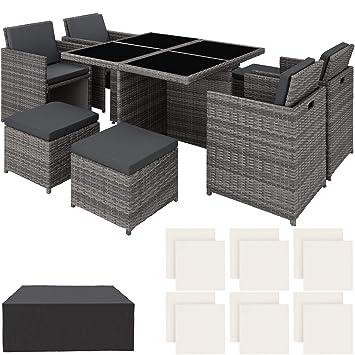 TecTake 403082 Ensemble Salon de Jardin en Aluminium Résine Tressée Poly  Rotin Table Set 4+1+4, avec Housse de Protection, Deux Set de Housses, Vis  ...