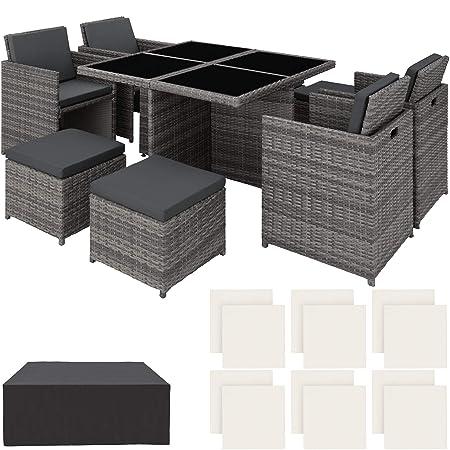 TecTake Conjunto Muebles de jardín en Aluminio y ratán sintético Comedor Juego 4+4+1 + Funda Completa + Set de Fundas Intercambiables | Tornillos de Acero ...