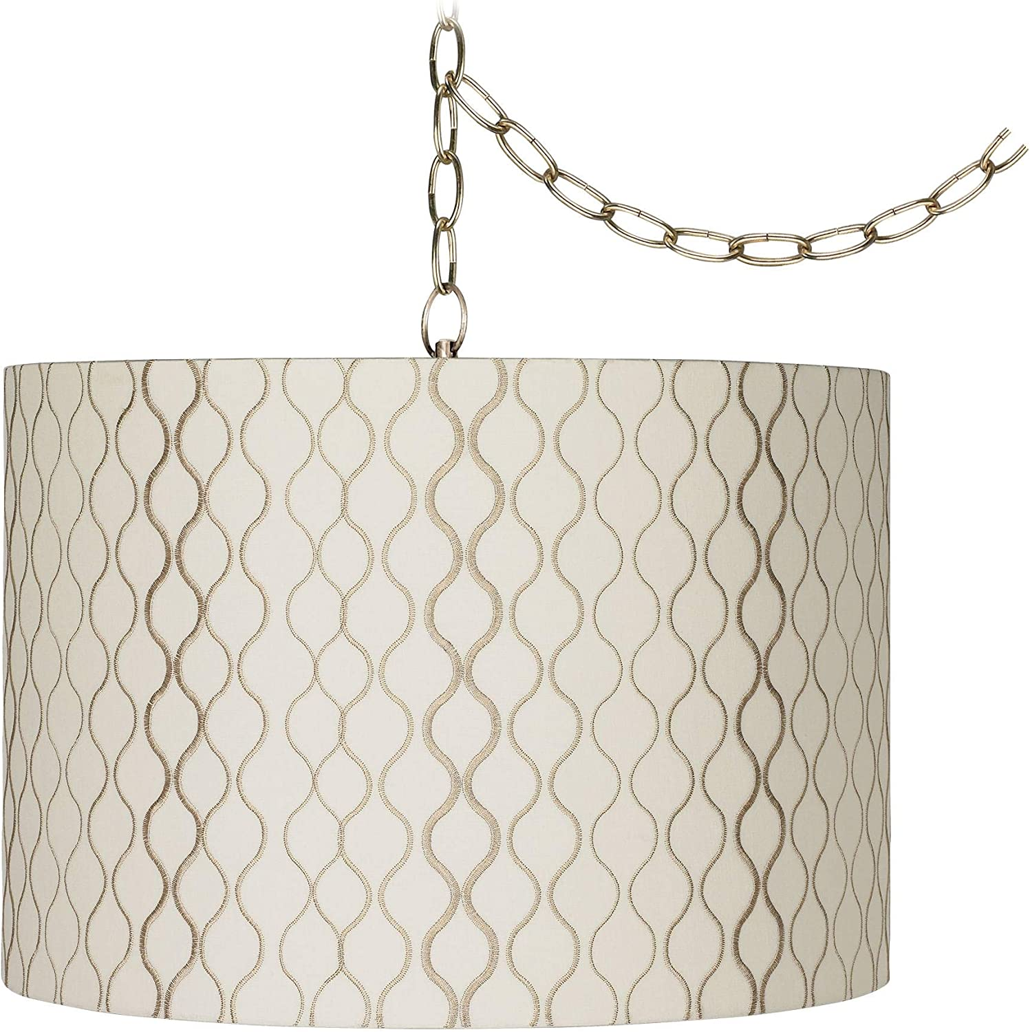 Possini Euro Design Abstract Silver Circles 16W Steel Plug-in Swag Chandelier