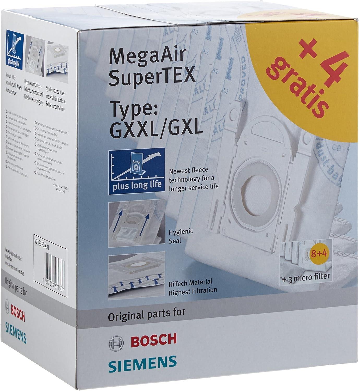 Bosch Siemens GXXL/GXL - Bolsas para aspiradoras Bosch BSG7 y Siemens VSZ06, VS07G (12 unidades): Amazon.es: Hogar