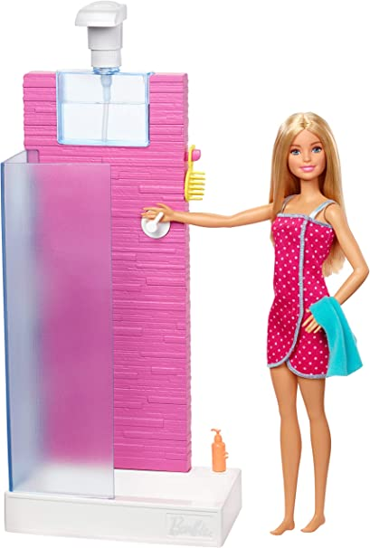 Amazon Com Barbie Doll And Furniture Set Bathroom With Working Shower And Three Bath Accessories Gift Set For 3 To 7 Year Olds Toys Games