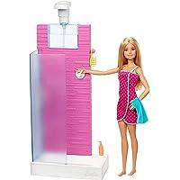 Barbie FXG51 Deluxe set meubels badkamer en pop met werkende douche, poppenspiegel vanaf 3 jaar