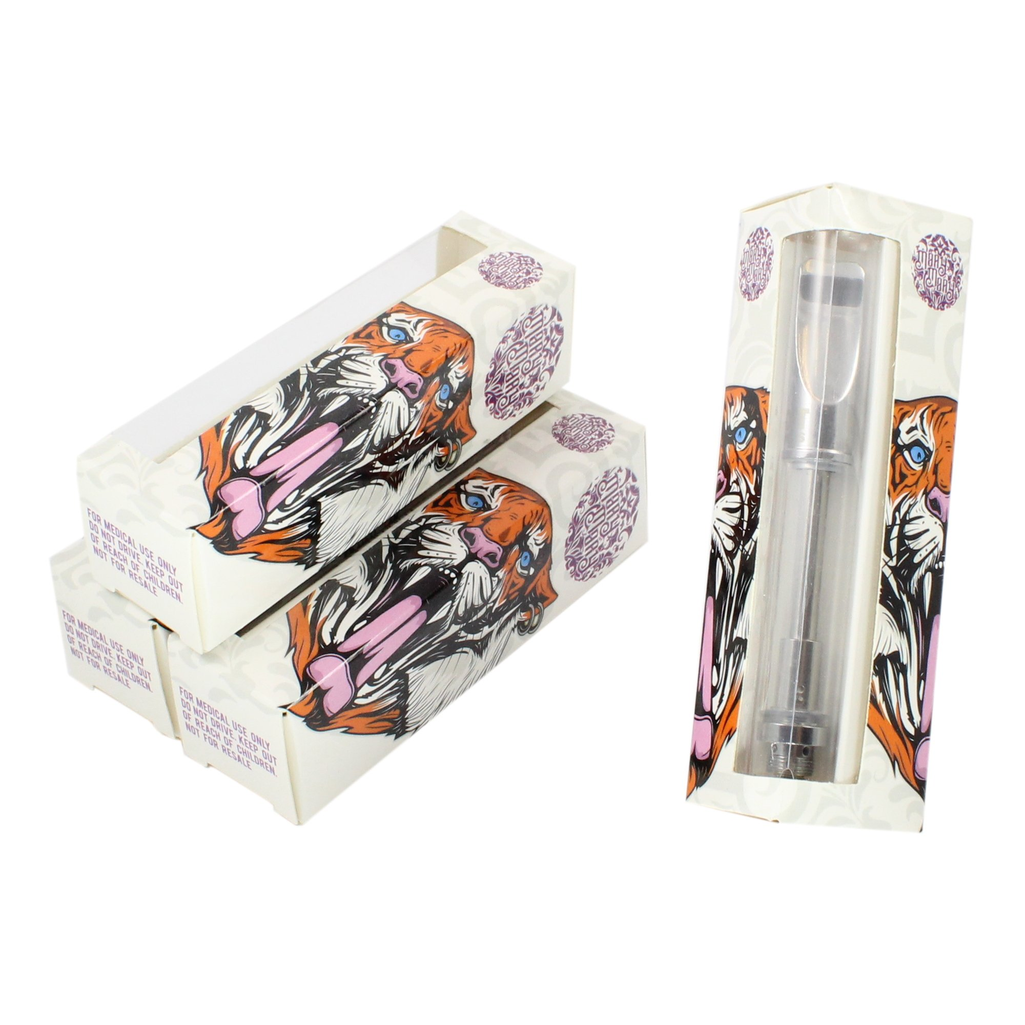 Mary Mary Tiger Empty Distillate Packaging Slim 1.0 & 0.5 ML Boxes by Shatter Labels VB-039 (25)