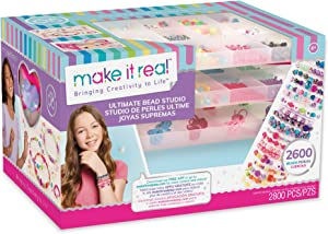 Make It Real - Ultimate Bead Studio. DIY Tween Girls Beaded Jewelry Making Kit. Arts and Crafts Kit Guides Kids to Design and Create Beautiful Bracelets, Necklaces, Rings and Headbands
