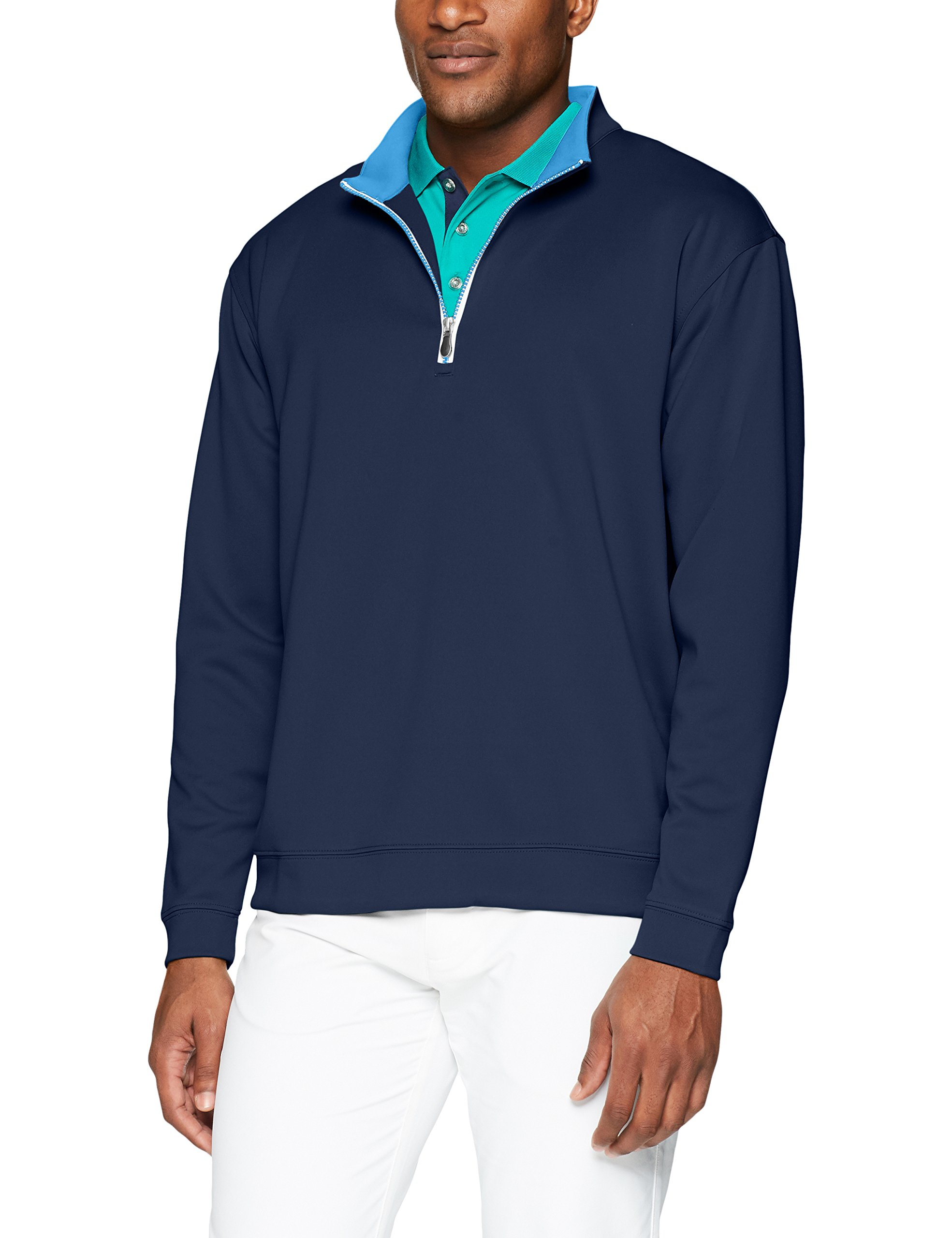 Men's Pebble Beach Golf Long Sleeve 1/4 Zip Pullover with Contrast Trim, Navy, X-Large