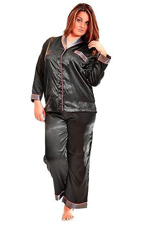 746941f4ca Up2date Fashion Shawl Collar Satin Pajama Set with Piping at Amazon ...