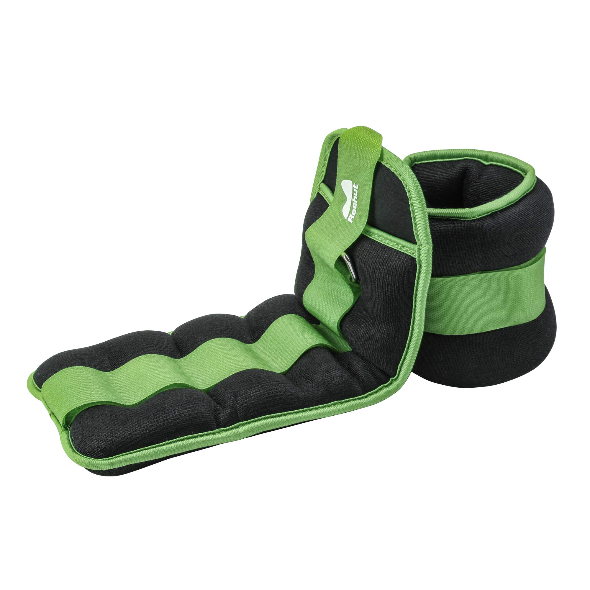 REEHUT Ankle Weights, Durable Wrist Weight (1 Pair) w/Adjustable Strap for Fitness, Exercise, Walking, Jogging, Gymnastics, Aerobics, Gym - Green - 2 lbs Pair (1 lbs Each)