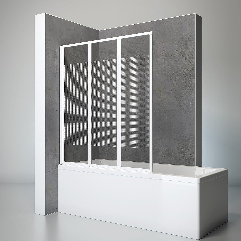 Schulte - Mampara para bañera, abatible, plegable, 127 x 140 cm, pantalla de bañera, 3 partes giratorias, de vidrio transparente, Decoración de cuadrados, perfil blanco alpino: Amazon.es: Bricolaje y herramientas