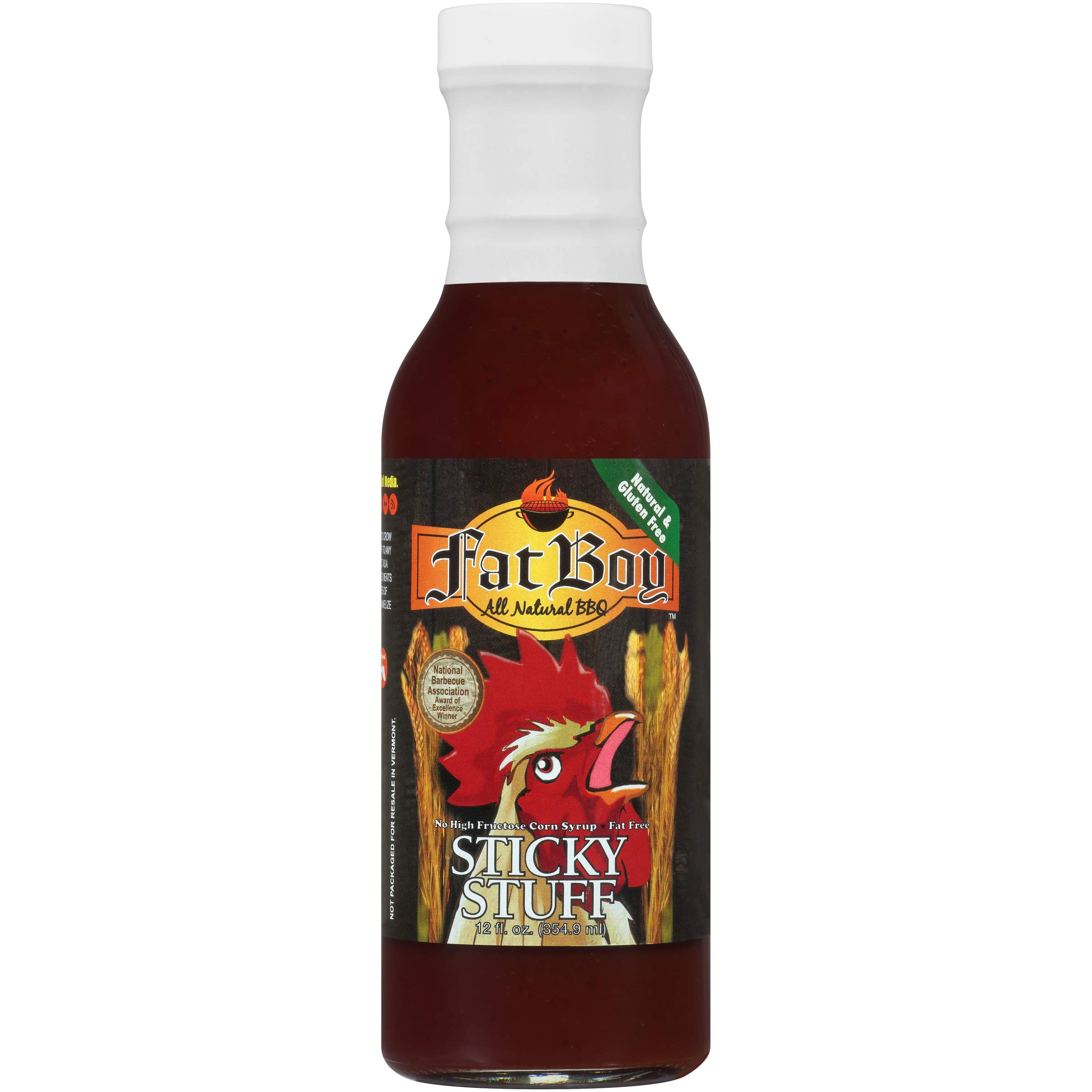 Fat Boy Natural BBQ Sauce, Sticky Stuff, 12 Ounce (Pack of 3)