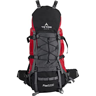 TETON SPORTS Fox 5200 Internal Frame Backpack – Not Your Basic Backpack; High-Performance Backpack for Backpacking, Hiking, Camping; Sewn-in Rain Cover