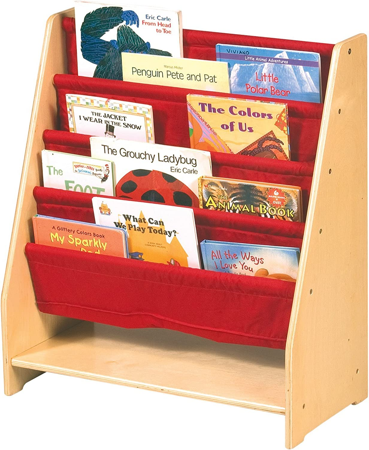Guidecraft Canvas Sling Bookshelf - Book Display Rack, Storage - Kids Furniture