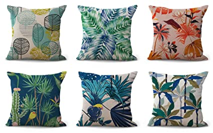 Amazon Set Of 6 Tropical Nature Flower Cushion Covers Dining