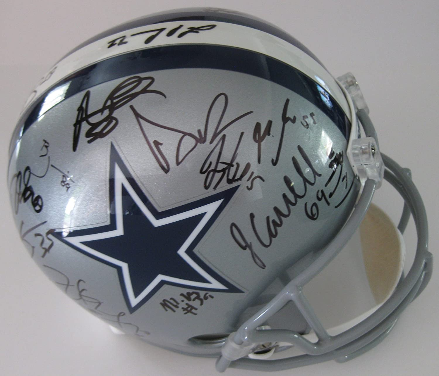 3e54ca883dd Amazon.com: 2017-2018 Dallas Cowboys, Team, Signed, Autographed, Full Size  Football Helmet, a COA with the Proof Photos of the Cowboys Players Signing  the ...