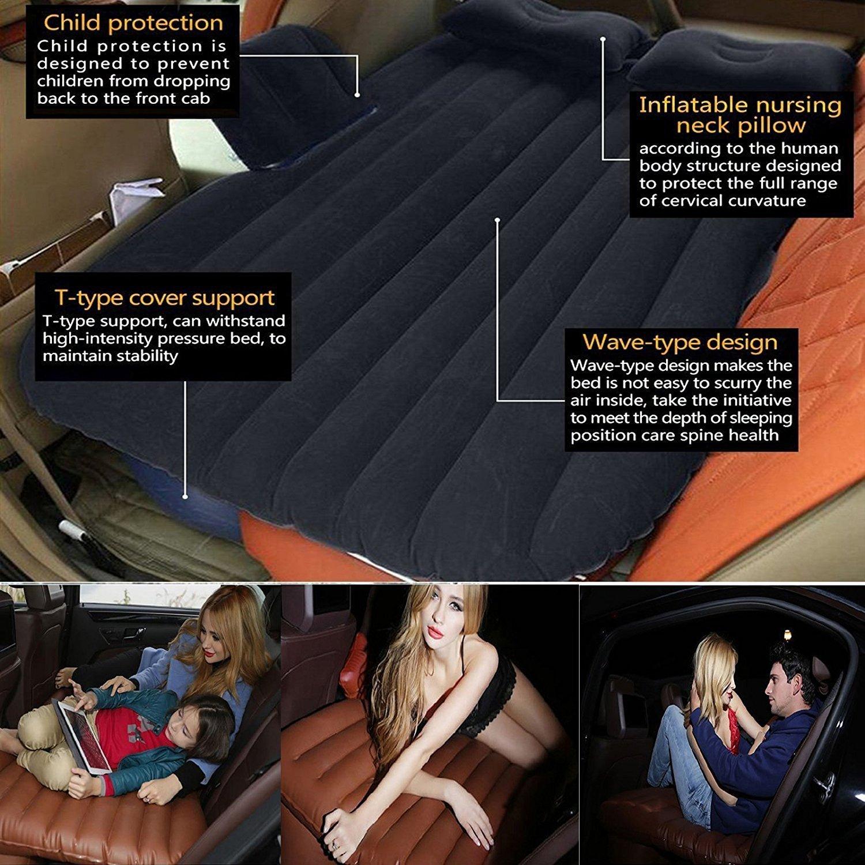 Auto-Luft-Bett-Bequeme Reise-aufblasbare R/ücksitz-Kissen-Luftmatratze f/ür Kinder