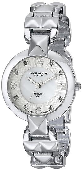 Akribos XXIV Mujer Lady Diamond analógico pantalla Cuarzo suizo reloj, color negro y plata: Amazon.es: Relojes