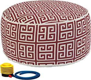 Kozyard Inflatable Stool Ottoman Used for Indoor or Outdoor, Kids or Adults, Camping or Home (Ruby Red)