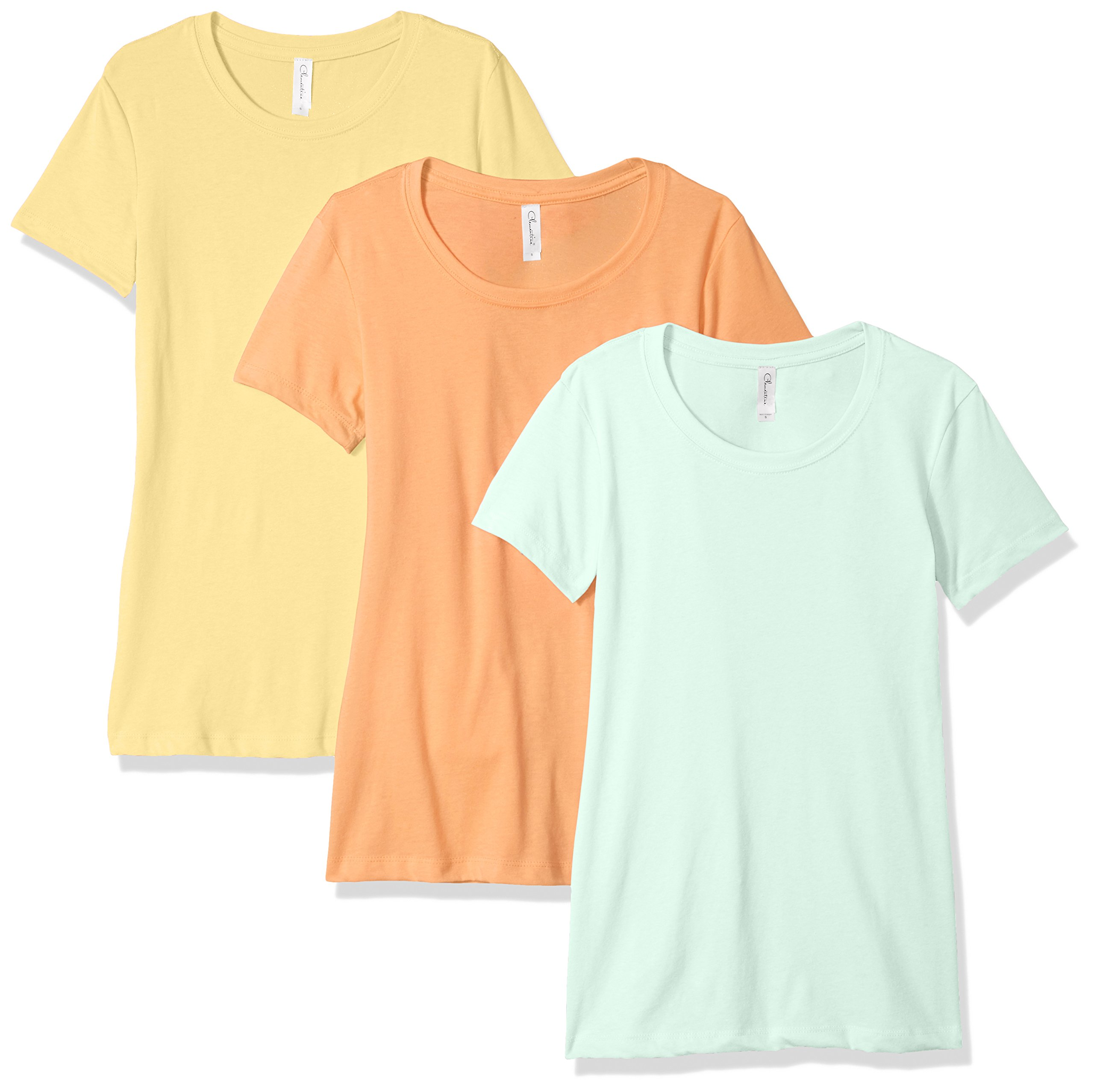 Clementine Apparel Women's Petite Plus Ideal Crew-Neck T-Shirts (Pack of 3), Banana Yellow/Light Orange/Mint, L by Clementine Apparel (Image #1)