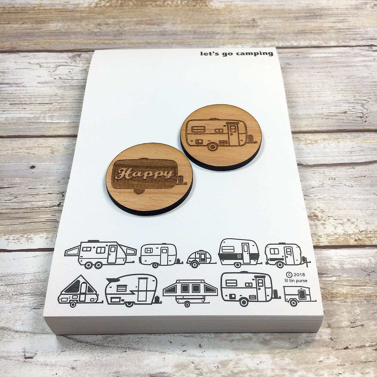 Large Egg Camper Magnets with let's go camping Travel Trailer Notepad