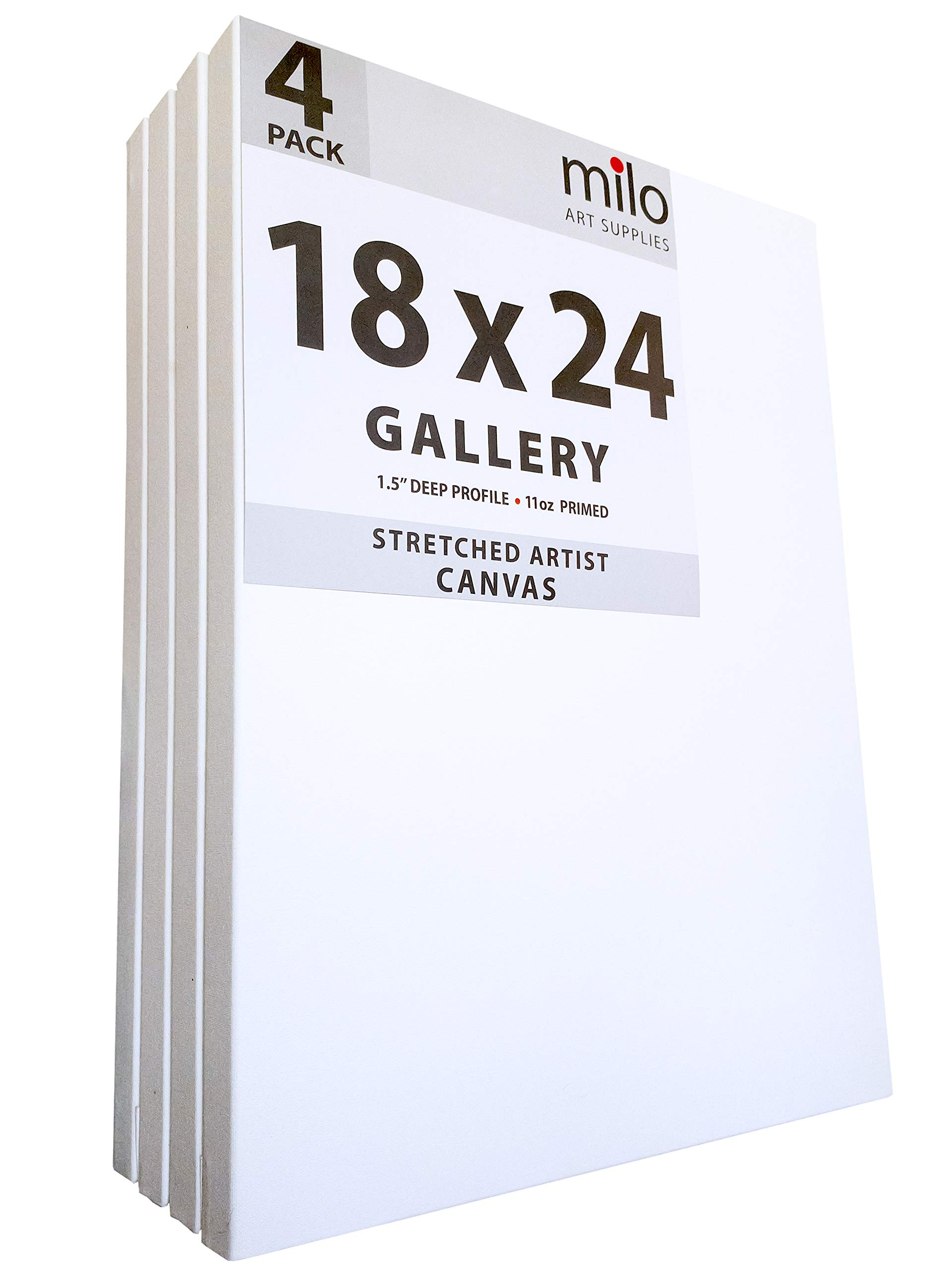 MILO PRO | 18 x 24'' Stretched Canvas Pack of 4 | 1.5'' inch Deep Gallery Profile | 11 oz Primed Large Professional Artist Painting Canvases | Ready to Paint White Blank Art Canvas Bulk Set by milo