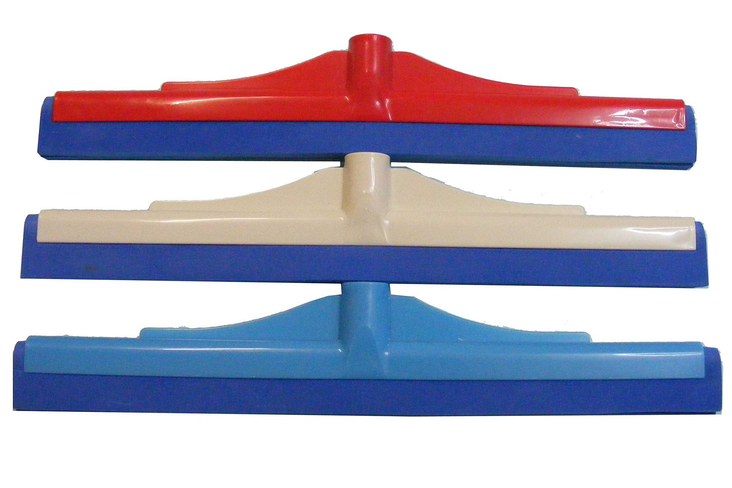 CLEANING Washing Floor Squeegee Wiper 16'' By CatchTheWave - PACK OF 3 - Double Foam Rubber - Wiping Drying Wet Rooms Window Garden Deck Car PERFECT For Wood, Tile, Marble, Glass - COLOR MAY VARY
