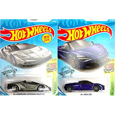 Hot Wheels HW Exotics Bundle 16 Lamborghini Centenario Roadster Silver 213/250 and McLaren 720S Purple 221/250 2 Car Set: Toys & Games