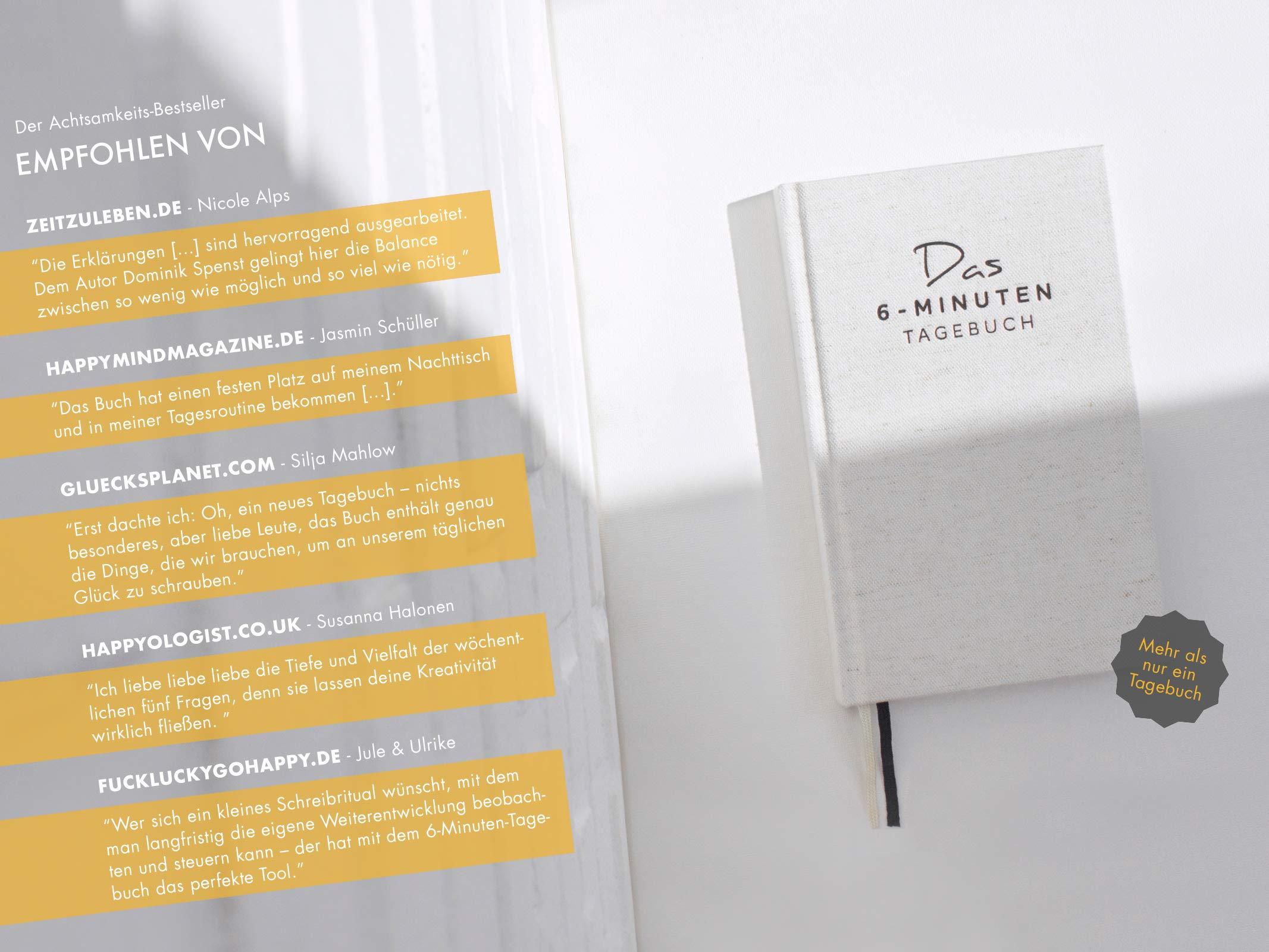 Das 6-Minuten-Tagebuch - Ein Buch, das dein Leben verändert, Mix aus Sach-,  Praxis- und Notizbuch: Amazon.de: Dominik Spenst: Bücher