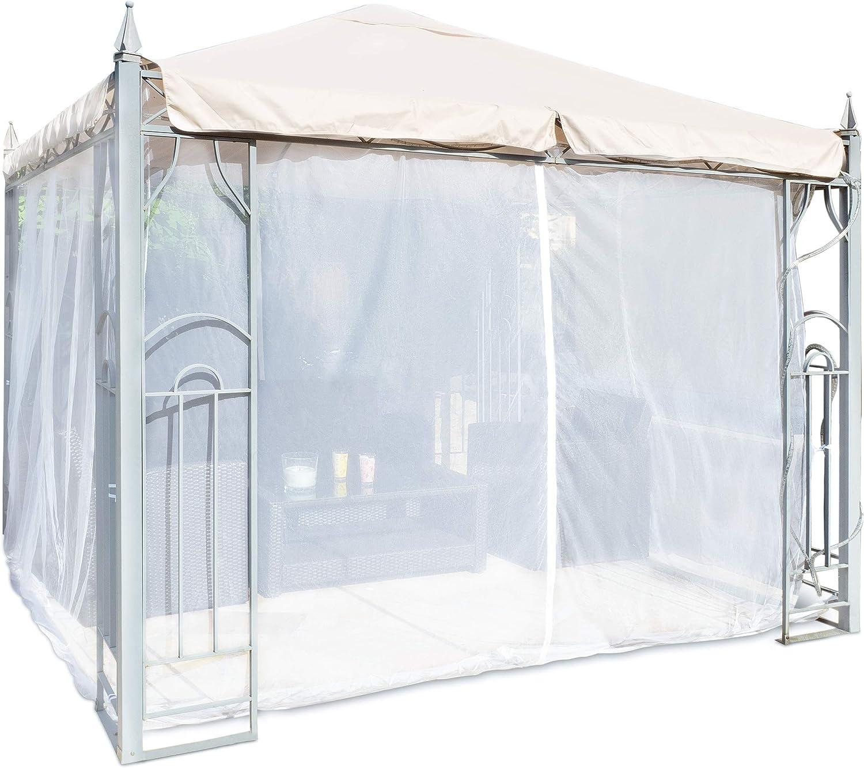 FREILUFTRAUM Mosquitera en forma de caja para cenador, terraza, lodge o balcón, en bolsa de transporte para viajes (300 x 300, color blanco)
