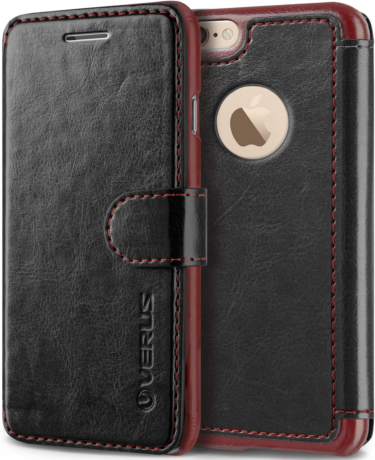 iPhone 6S Plus Case, Verus [Layered Dandy][Black] - [Premium Leather Wallet][Slim Fit] For Apple iPhone 6 6S Plus 5.5