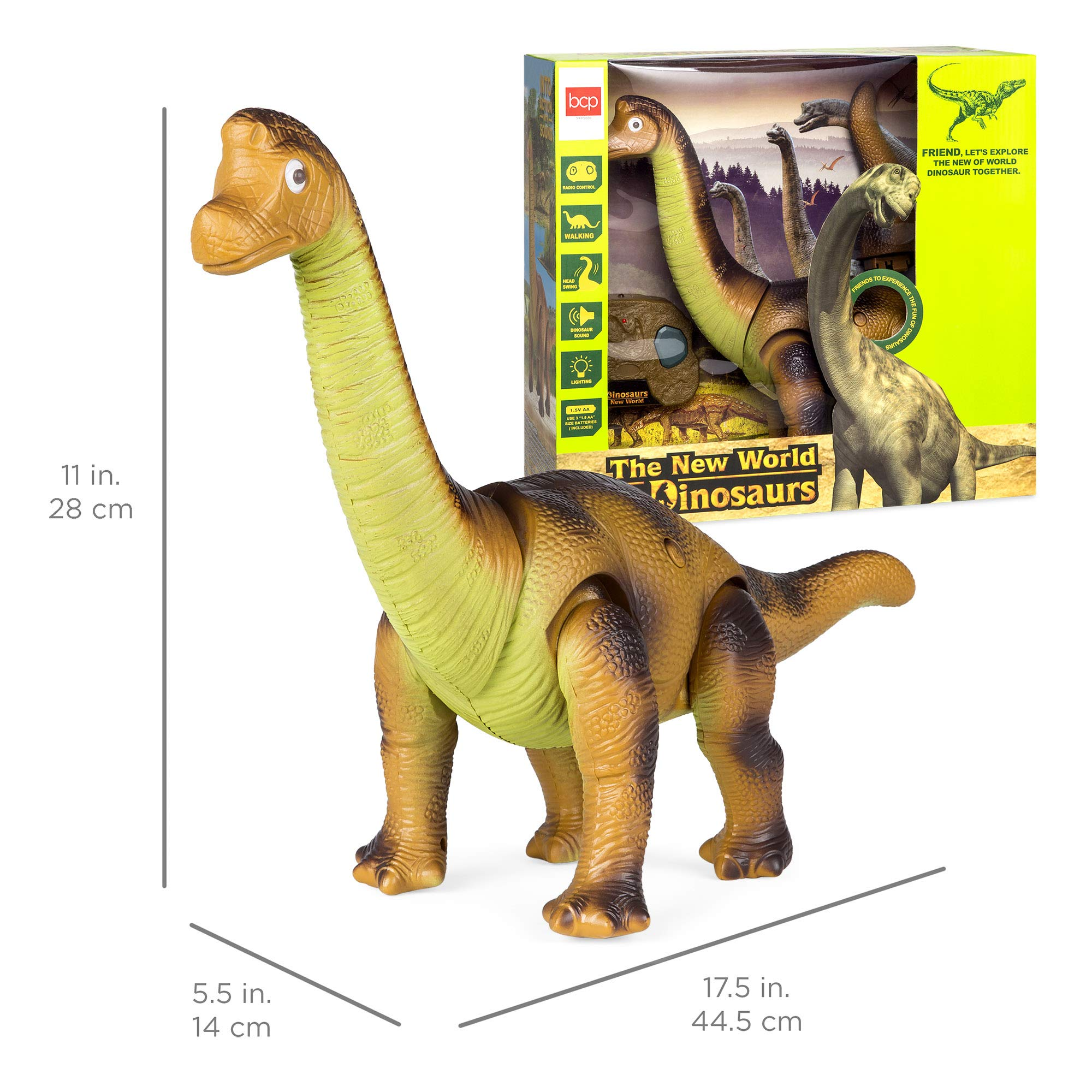 Best Choice Products 17.5in Kids RC Stomping Brachiosaurus Dinosaur Electric Animal Toy Robot w/ Light Up Eyes, Roaring Sounds, Swinging Head, Remote Control by Best Choice Products (Image #6)