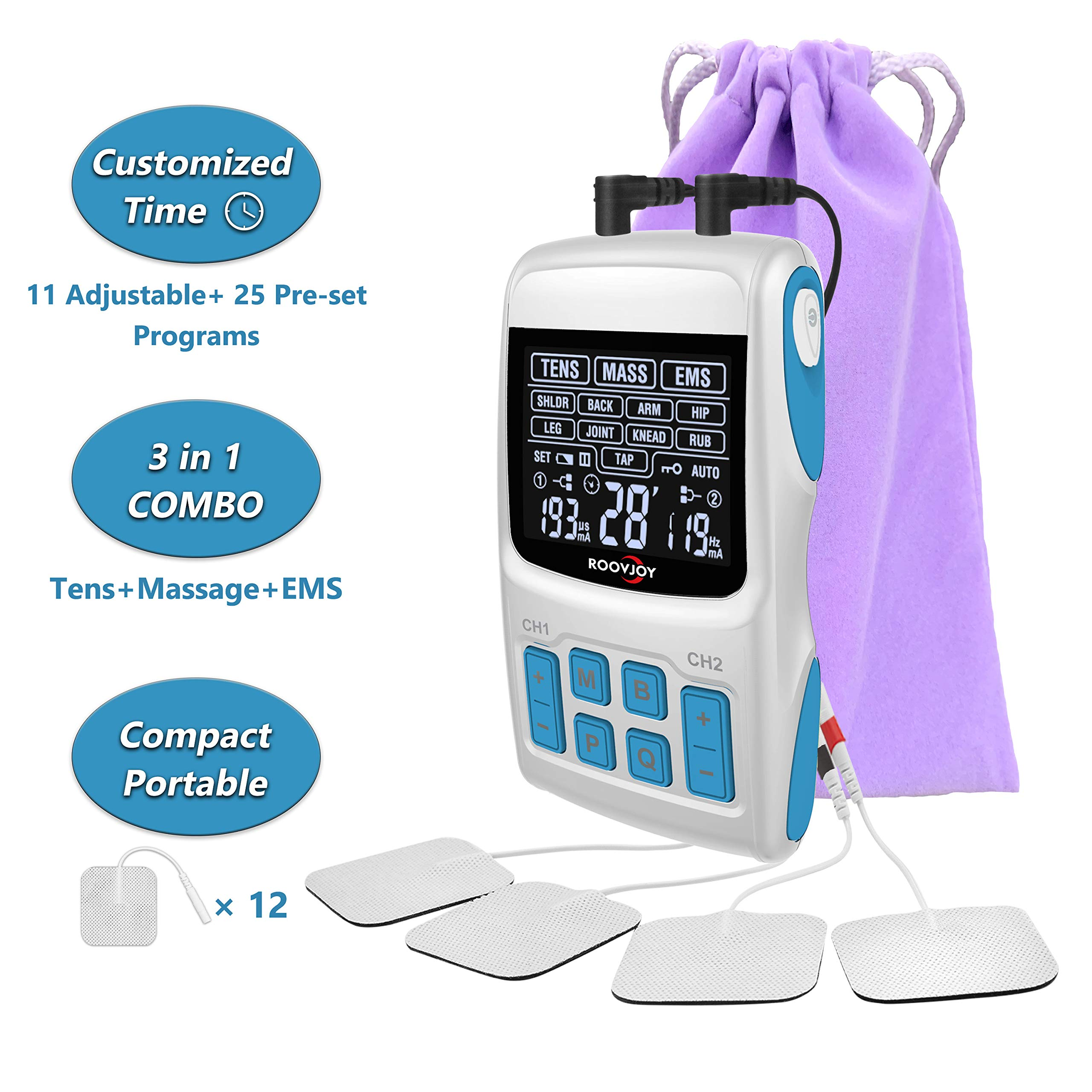 ROOVJOY Combo TENS Unit EMS Muscle Stimulator Pulse Massager 3 in 1 Back Pain Relief Dual Channles 36 Modes Electric Device Electrodes Therapy Accupoint Pads Machine by roovjoy