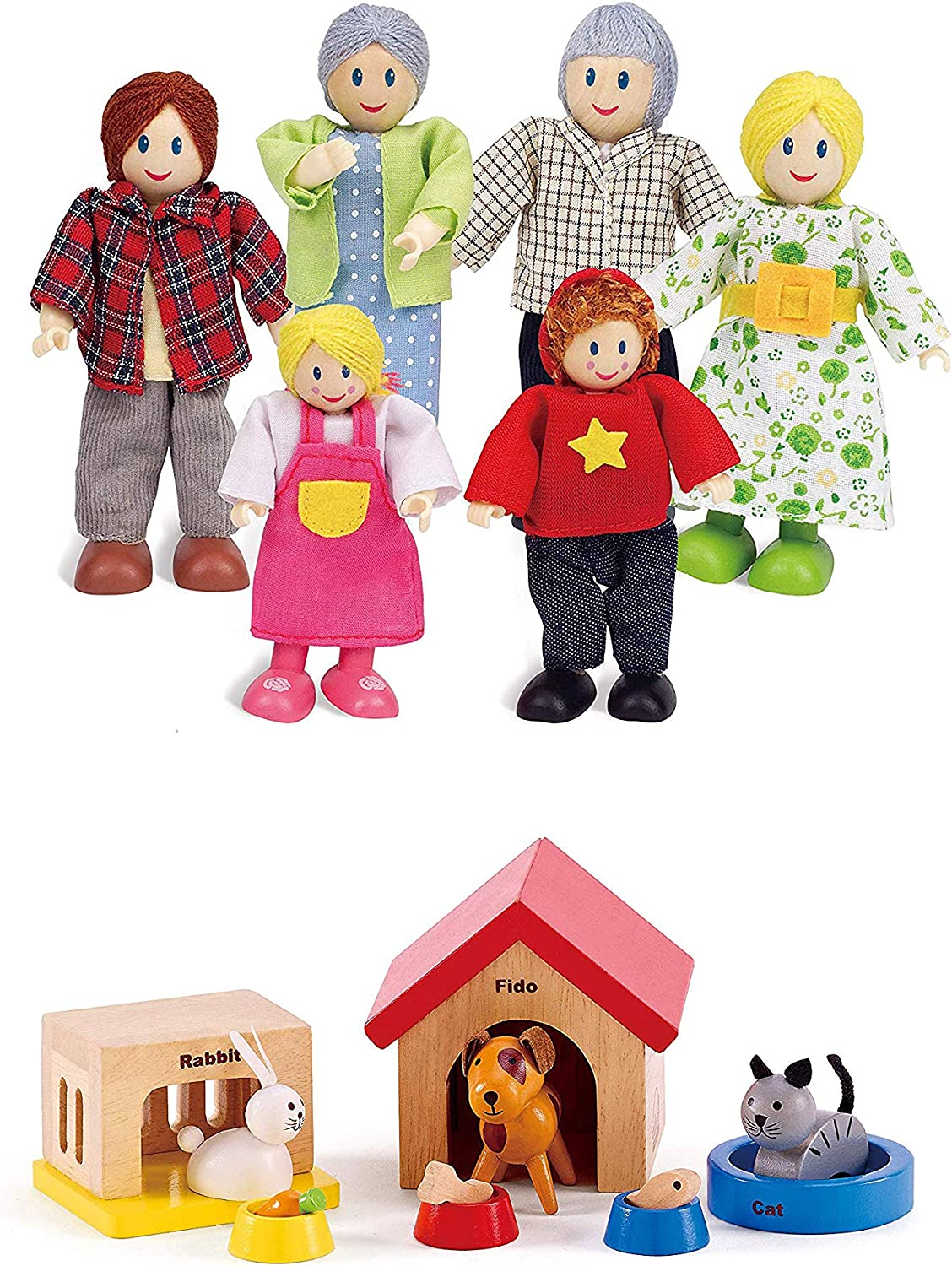 Hape Happy Family Dollhouse with Pet Set Award Winning Doll Family Set, Unique Accessory for Kid's Wooden Dolls House, Imaginative Play Toy, 6 Family Figures, Adults 4.3