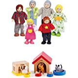 Hape Happy Family Dollhouse with Pet Set Award Winning Doll Family Set, Unique Accessory for Kid's Wooden Dolls House, Imagin