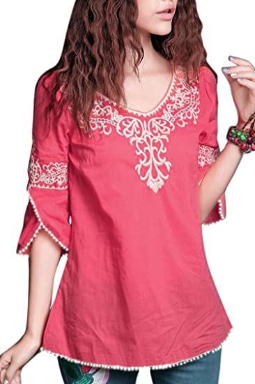 75759f2b94e79 Triumphin Pink Women Girls Boat Neck Embroidered Rayon Cotton Top for  Dailywear Stylish Casual and Western Wear Women Girls Tops  Amazon.in   Clothing   ...