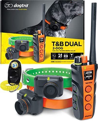 Dogtra T B Dual Dial Dog Remote Training and Beeper Collar – 1.5-Mile-Long Range, Sports Upland Hunting, Fully Waterproof, Rechargeable, Static, Locate – Includes PetsTEK Trainer Clicker