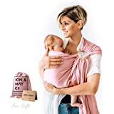 Baby Slings by ION & MAY | Natural Collection | Soft Breathable Lightweight Bamboo Infant Baby Carrier | Baby Shower Gift | Nursing Cover, Cuddle Wrap | Baby Girl Carrier with Pouch | Savannah Rose