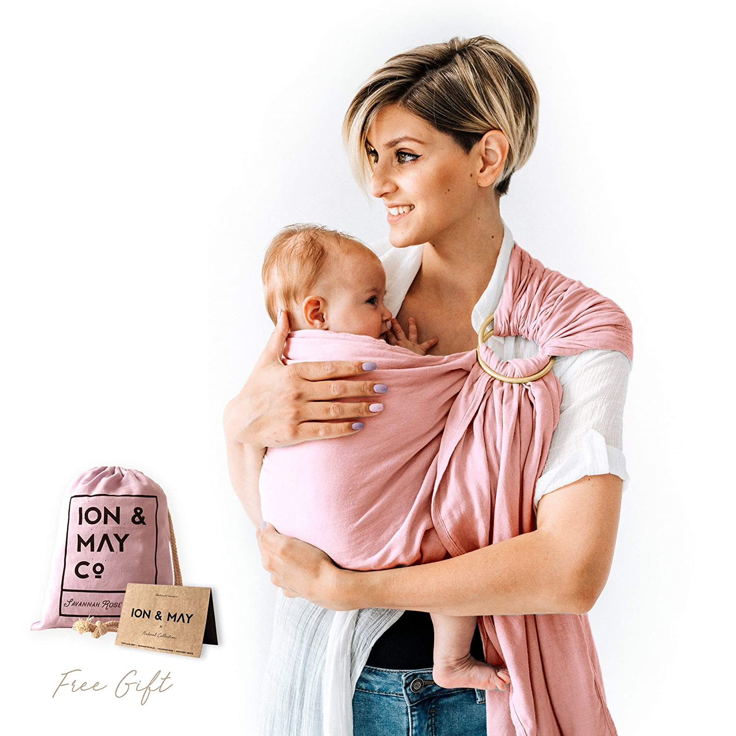 Baby Slings by ION & MAY | Natural Collection | Soft Breathable Lightweight Bamboo Infant Baby Carrier | Baby Shower Gift | Nursing Cover, Cuddle Wrap | With Carry Pouch for Diaper Bag | Portland Grey I&M00001