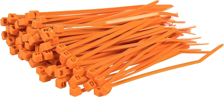 Gocableties 100 Stück Kabelbinder Orange 100 Mm X 2 5 Mm Premiumqualität Uv Beständiges Set Baumarkt