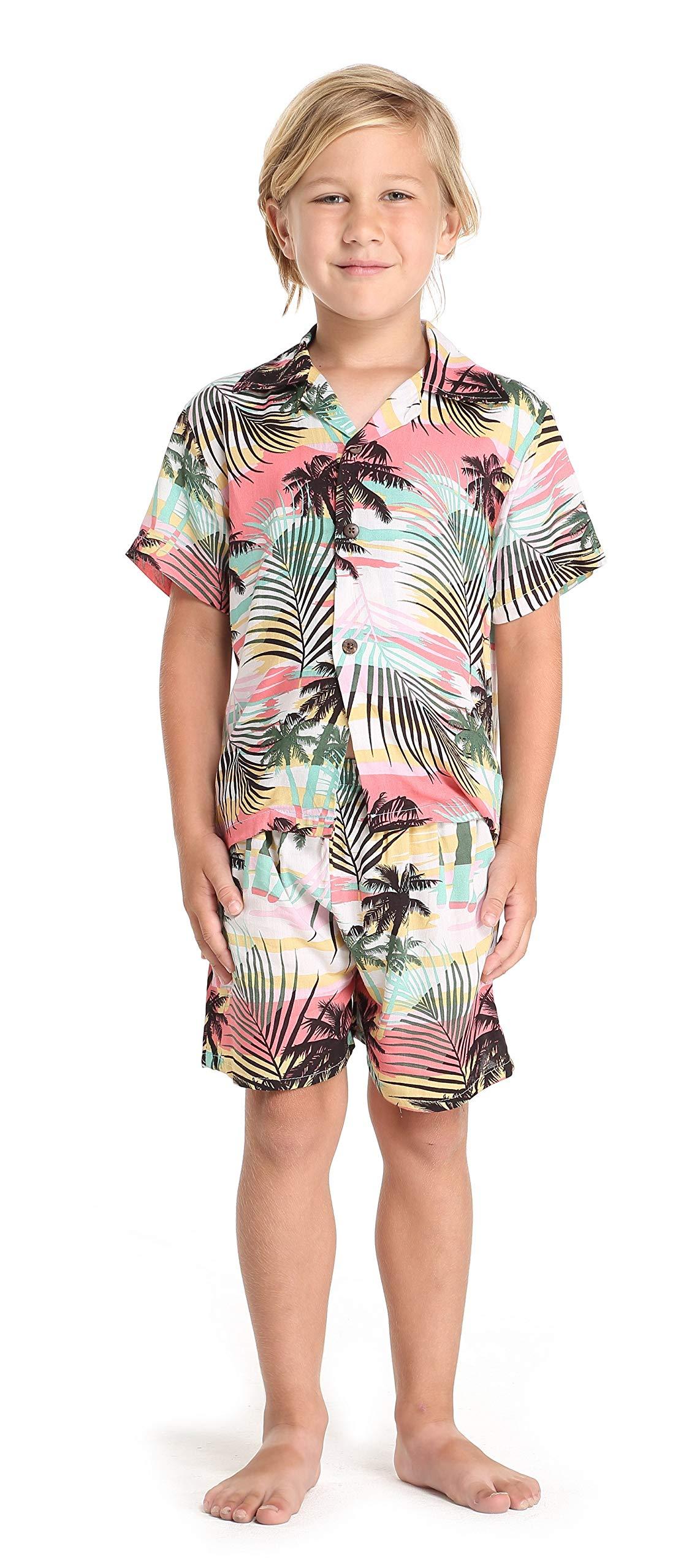 f25e600ff6a Matching Mother Son Hawaiian Luau Outfit Dress Shirt in Neon Sunset Women L  Boy 10