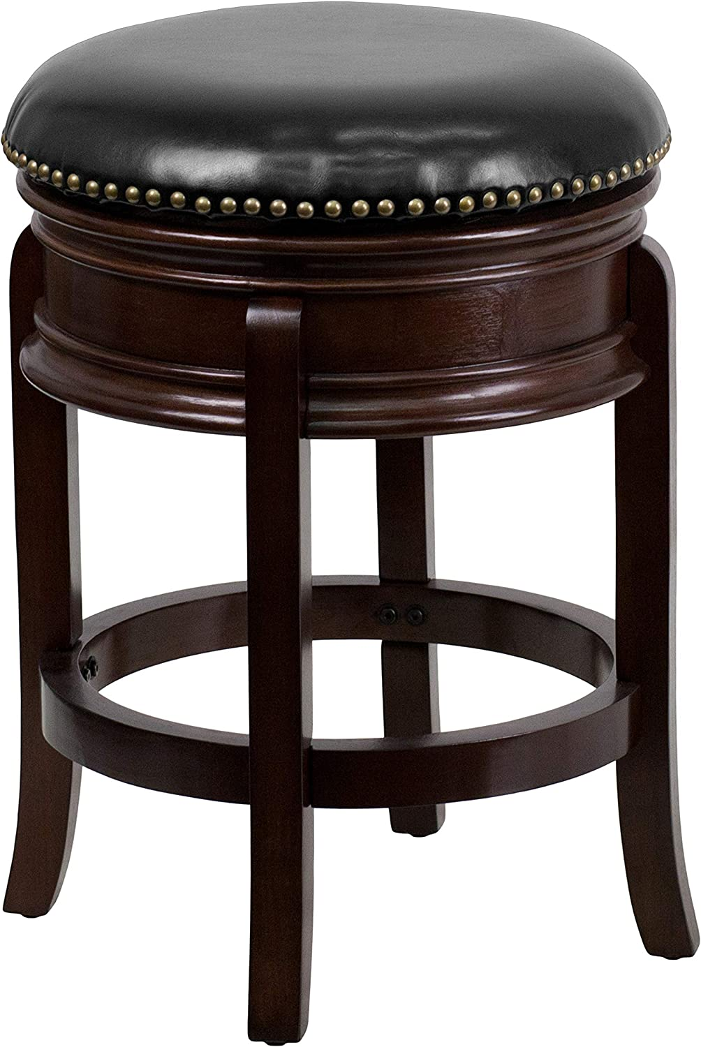 Flash Furniture 24'' High Backless Cappuccino Wood Counter Height Stool with Carved Apron and Black Leather Swivel Seat