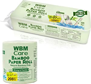 WBM Care Natural Bamboo Toilet Paper |Hypoallergenic for Sensitive Skin |Food Grade Standard| Eco-Friendly-3 Ply Bath Tissue, 208 Sheets/Each| 20 Rolls, Count