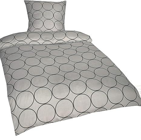 RF Basic - Juego de Cama (algodón, Funda nórdica de 135 x 200 cm y Funda de Almohada de 80 x 80 cm), diseño de círculos, Color Gris: Amazon.es: Hogar