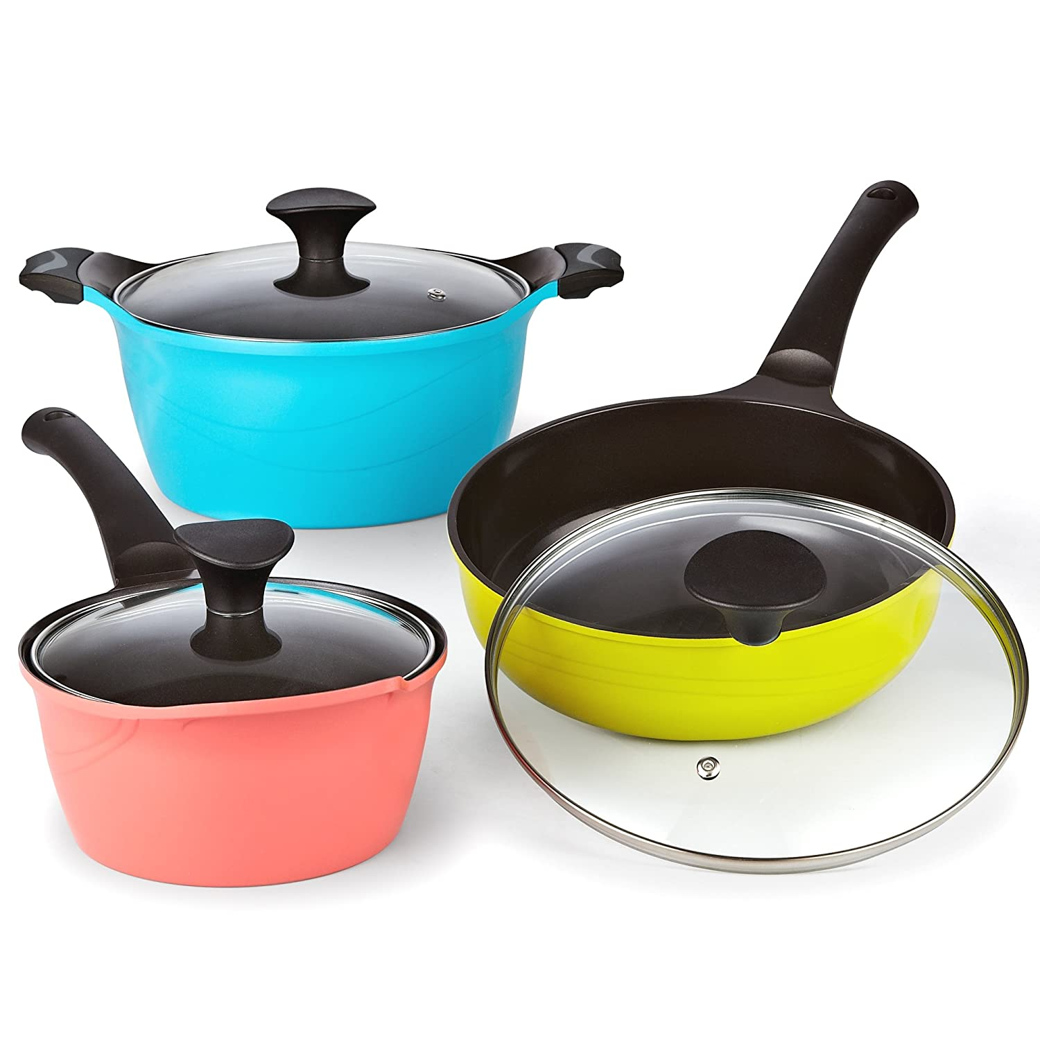 Multicolor Cook N Home 6 Piece Nonstick Ceramic Coating Die Cast Cookware Set