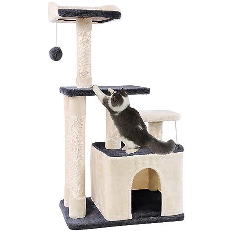 KExing Árboles para Gatos Rascador para Gatos Sisal Plush con Pelota 100cm, Gris y Beige